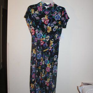 Time and Tru Button Front Midi Dress Multi Floral